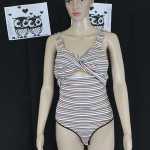Bebe Bodysuit with Colorful Striped Print